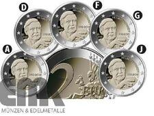 Deutschland 5 x 2 Euro 2018 - Helmut Schmidt - Satz Bankfrisch