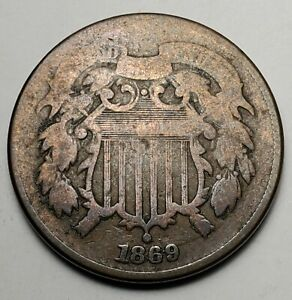 1869 2C BN-Good+, Details KM 94-FREE USA SHIPPING-G+*