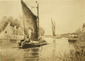 Charles M. Wigg pencil signed antique etching; Norfolk Broads Wherry 1900's