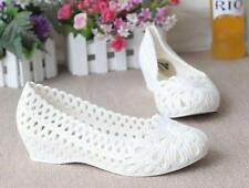 Womens Plastic Sandals White Nurses Shoes Wedge Hollow Up Mother's Shoes
