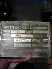 Large Oil Storage Tank Spec Nameplate, Stainless, From Phenol Plant, Blue Island