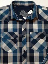 Buffalo David Bitton Western Shirt Small Blue Check Plaid Lumberjack New