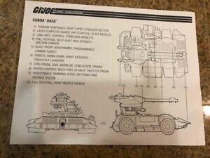 GI Joe Vehicle BLUEPRINTS Cobra RAGE 1997 Original Instruction STICKER Sheet