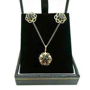 "9ct Yellow Gold Hallmarked Sapphire & Diamond Necklace Earring Set 16"" Boxed"