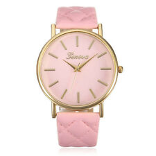 UK Seller Cool Gift Womens PINK Gold Quartz Dress Watch Quilted Strap