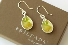 Silpada Sterling Silver Green Serpentine Glass Dangle Bead Earrings W2142