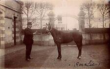 Photo carte homme avec cheval 1914 grille Amalia jument 1914 circulée tampon