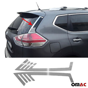 Trunk Wing Side Trim Chrome Stainless Steel 2 Pcs Fits Nissan Rogue 2014-2020