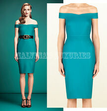 $1,400 GUCCI DRESS WOOL TURQUOISE STRETCH CADY OFF THE SHOULDER SHIFT IT 44 US 8
