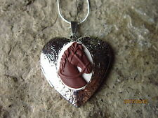 BROWN HORSE CAMEO SILVER PLATED HEART LOCKET -UNIQUE, HANDMADE, HORSE LOVER GIFT
