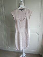 VGC FRENCH CONNECTION BABY PINK GLITTERY BANDAGE DRESS SIZE 10