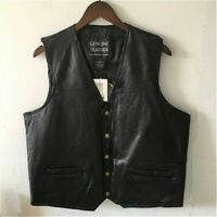 Men Genuine Leather Waistcoat Vest Top Motorcycle Biker Black Retro Retro Chic