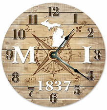 MICHIGAN CLOCK Established in 1837 STATE CLOCK Large 10.5 inch Wall Clock