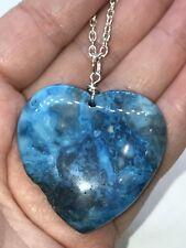 "Geode Heart Agate Druzy Crystal Tibetan Silver 18"" Necklace D-1088"