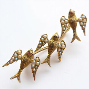 Edwardian Three Swift / Swallow Brooch Set with Seed Pearls & Red Paste Eyes