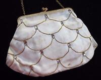 Vintage 1950s Bag Purse Handbag Ladies Cream Satin Rhinestone Framed Evening