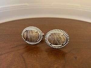 Cufflinks Silver Tone with Brown Agate Stone