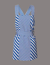 M&S AUTOGRAPH Cotton Blend Striped Tie Detail Vest Top uk size 12