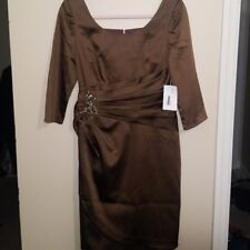 Kay Unger New York Dress Sz 6 Sheath Evening/Cocktail Brown Ruched NWT $437