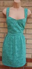 LOVE LABEL SUMMER GREEN FLORAL LACE SKATER A LINE FLIPPY RARE TEA DRESS 18