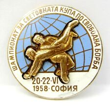 1958 WORLD CUP WRESTLING CHAMPIONSHIP IN SOFIA GREAT OFFICIAL BADGE PIN ENAMEL