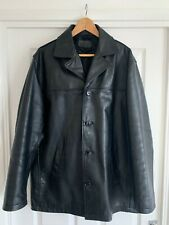 Mens Black NEXT Genuine Leather Jacket Button Up Vintage Style Retro RRP £150