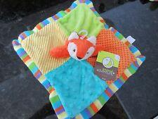 "HTF Animal Adventure 11"" Orange Fox Baby Security Blanket Rattle Patches Lovey"