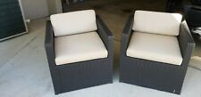 6 x Outdoor Patio Wicker Chairs with Zippered Material Cushions