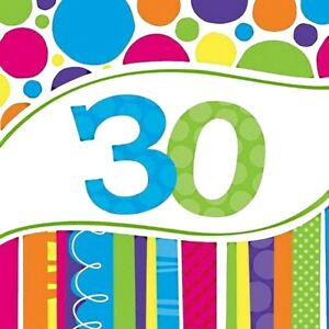 18 - 2 ply Bright and Bold 30th Birthday - Anniversary Lunch Napkins
