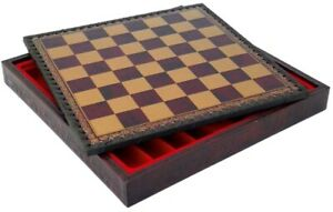 11 Inch Burgundy & Gold Pressed Leather Chess Board and Storage Chest