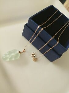 Grade A Icy nephrite Jade leaf Pendant Au750 18K rose gold chain necklace