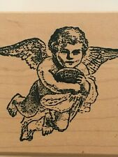 The Moon Rose Flying Angel with Tablet Valentine's Day Card Craft Rubber Stamp