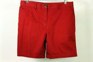 RALPH LAUREN Womens Red Short Twill Cotton High Rise Lightweight Casual LARGE 14