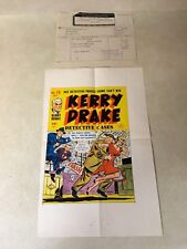KERRY DRAKE #10 COVER ART original cover proof 1948 w/PRINTER INVOICE detective!