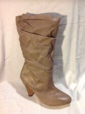 Next Brown Mid Calf Leather Boots Size 8