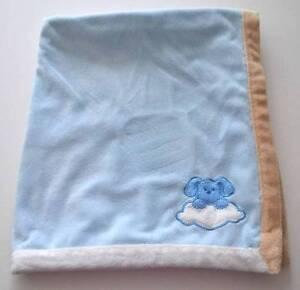 BLANKETS & BEYOND Plush Velour Satin Blue Brown Puppy Cloud Baby Blanket Lovey
