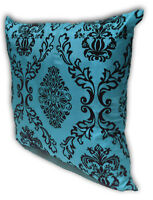 Blue Home Decorate Room Sofa Flock Print Cushion Cover Pillow Case 43cm x 43cm