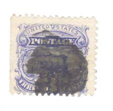 Scott 114 Early US Stamp 3c Pictorial..Train..1869.  Dark Cancel