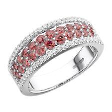 1.25 Ct Pave Set Round Diamond & Ruby Wedding Ring in 18K White Gold