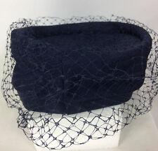 VIntage Pillbox Pilot Hat Fascinator Funeral Costume Net Veil Blue USA Union EUC