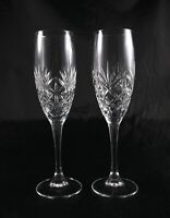 Pair Stunning Elegant Lead Crystal Champagne Flutes Prosecco Glasses vintage