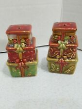 Ceramic Stacked Presents Salt & Pepper Shakers Set Christmas Holidays Kitchen