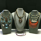 ALL signed CHICO'S Jewelry NECKLACE LOT Statement Gemstone Pendant Silver V18X