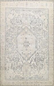 Muted Semi-Antique Handmade Tebriz Distressed Area Rug Evenly Low Pile 10x12 ft