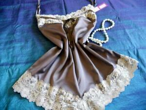 Womens Cami-Knickers Teddy 3XL Chocolate Satin Ivory Lace Camisole Panties PJs