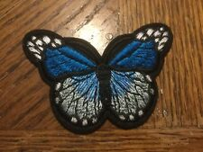 Blue Butterfly Embroidered Iron/Sew On Patch 2.75� x 2�