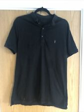 Mens All Saints Black Polo Shirt Large Slim Fit