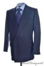 HUNTSMAN Gray Striped 100% Wool Jacket Pants SUIT Mens - EU 52 R