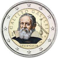 Italien 2 Euro 2014 Galileo Galilei Prägefrische Gedenkmünze in Farbe
