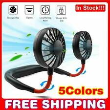 USB Rechargeable Neckband Sport Fan Lazy Neck Hanging Dual Cooling Portable Fan.